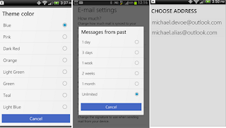 cambios de la aplicacion outlook en Android