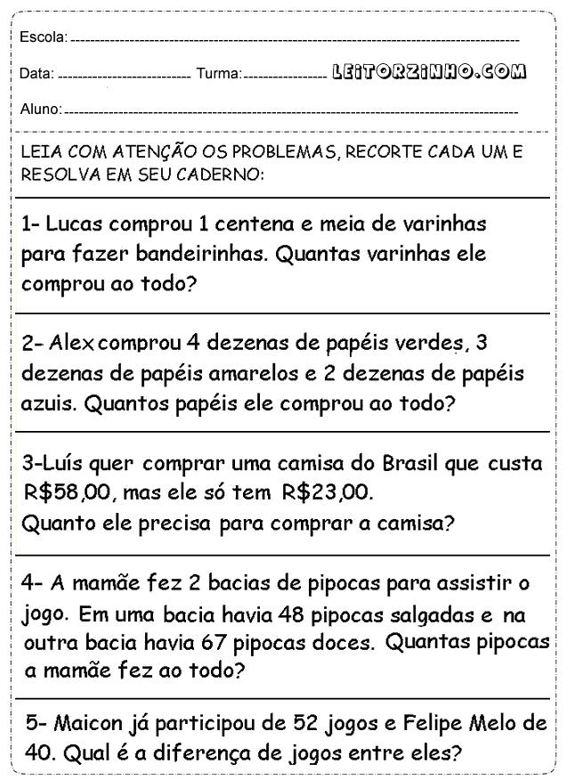 Muito Leitores: Problemas de matemática 4° ano SG96