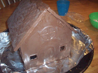 ext, attach the roof pieces with yet more melted chocolate
