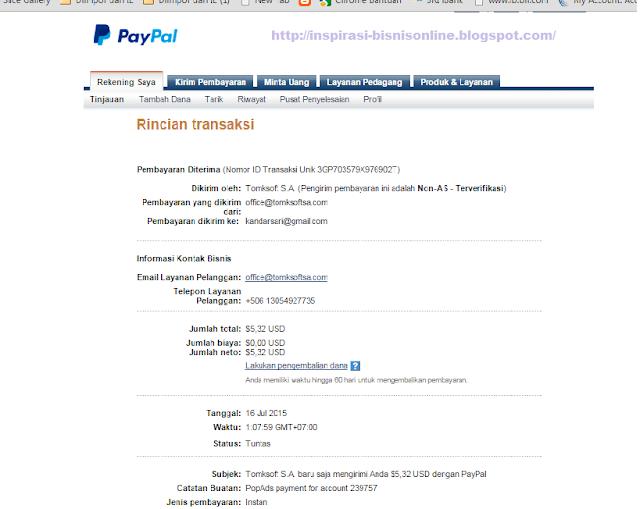 Pembayaran Popads ke Paypal