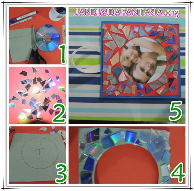 Atividade Artes Educação Infantil Reciclagem de Cd Quadrinho Dia dos Pais