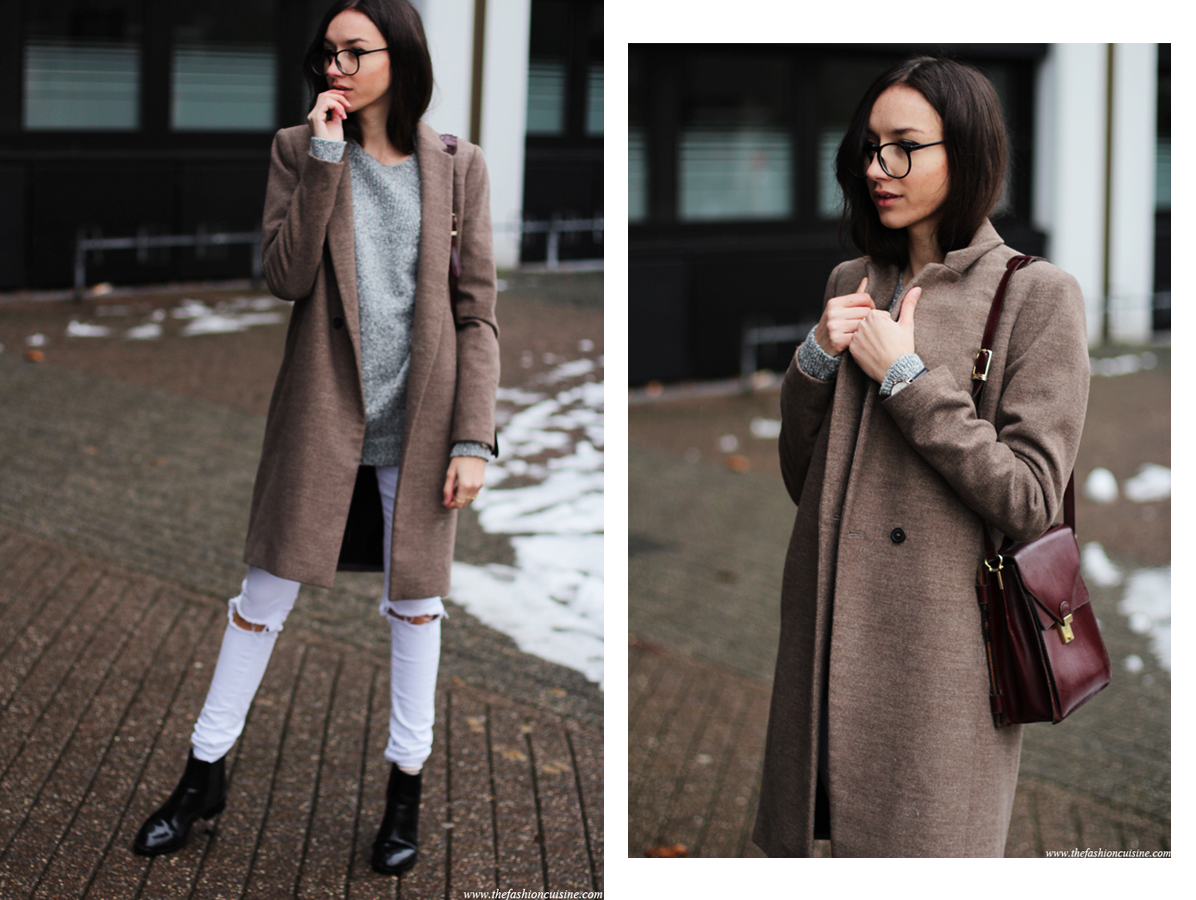 girl with glasses, effortless casual look, camel coat, white jeans, chelsea boots, grey sweater