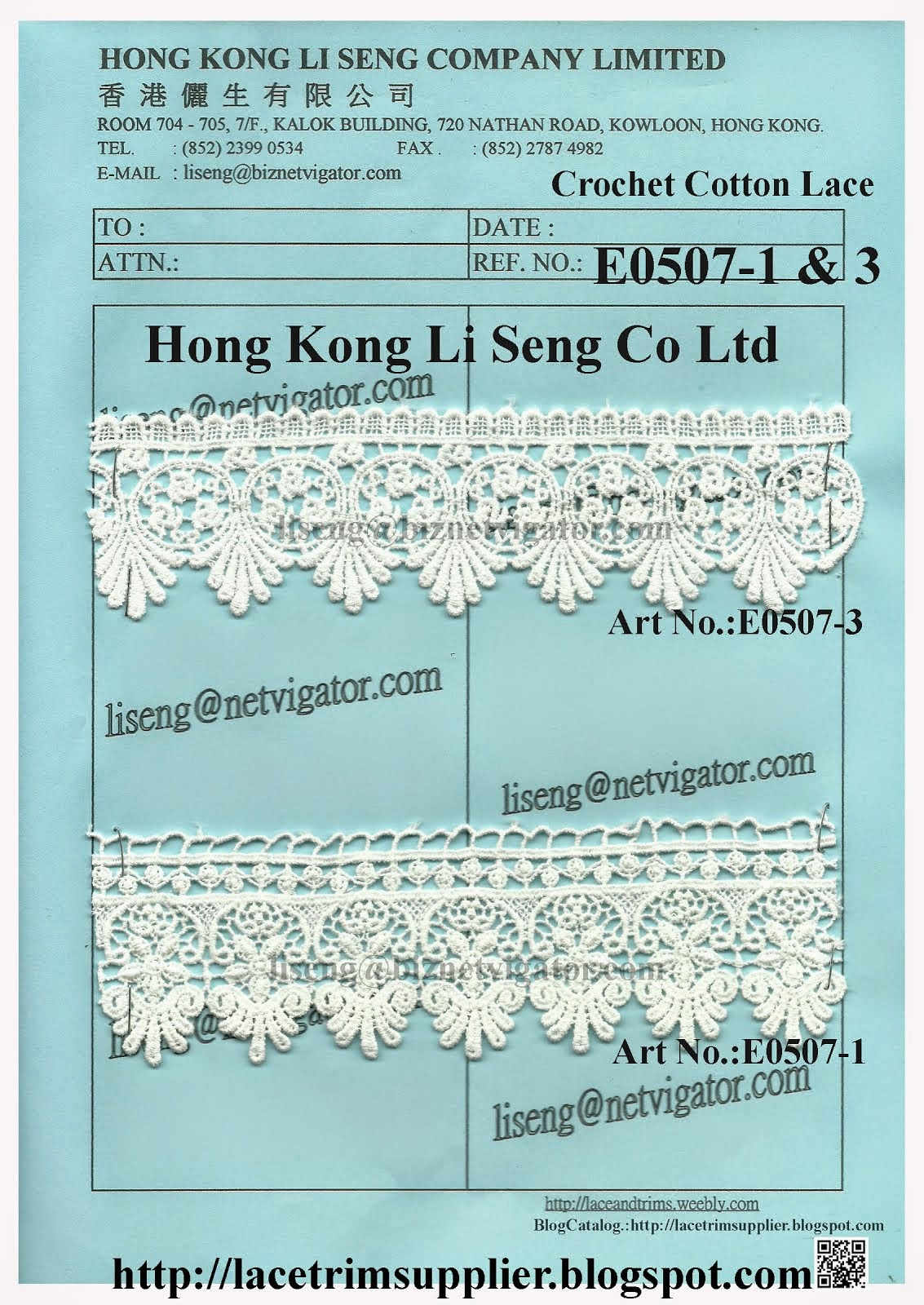 Crochet Cotton Lace Manufacturer and Supplier - Hong Kong Li Seng Co Ltd