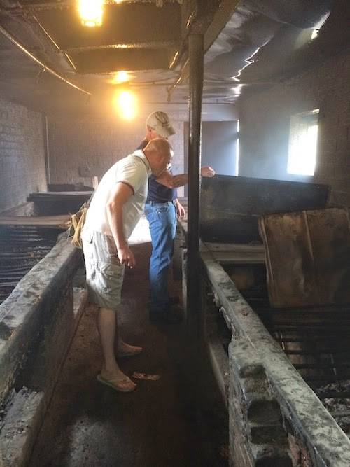 In the pit at Wilber's Barbecue