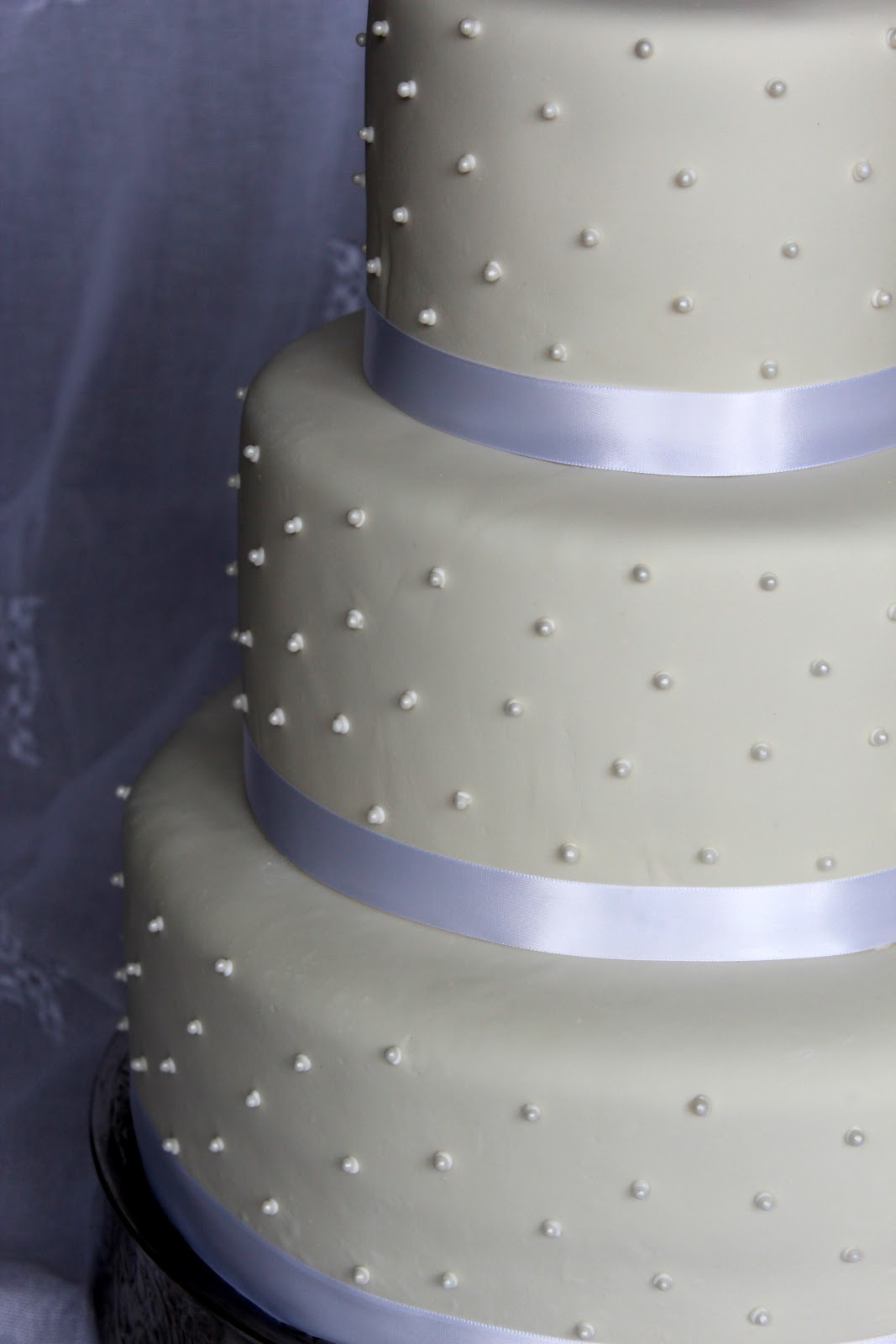 Cake Flair Simple White with Pearls Wedding Cake
