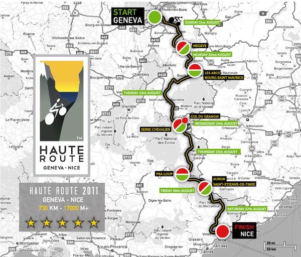 carte du parcours de la haute route