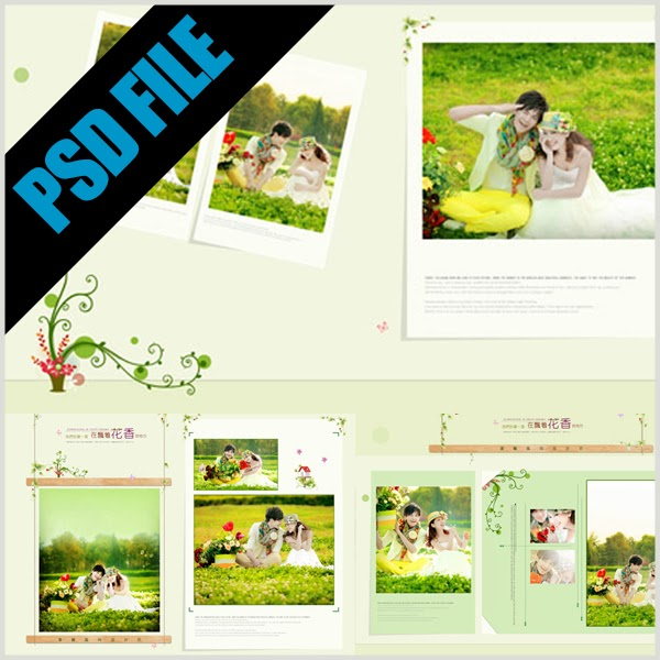 Gratis Download Template Album Kolase Floral Format PSD