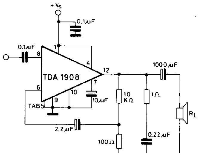wiring schematic diagram  8w audio amplifier tda1908