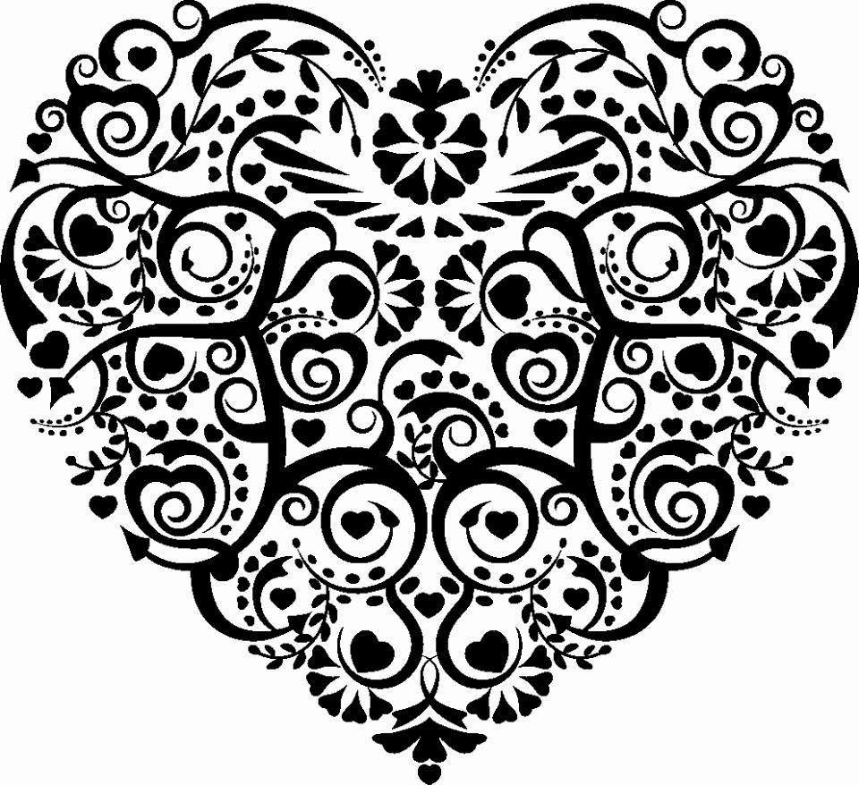 dibujo de corazón negro de filigrana