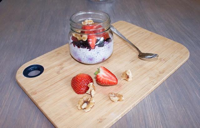 chiagrøt med blåbær, kjøleskapsgrøt