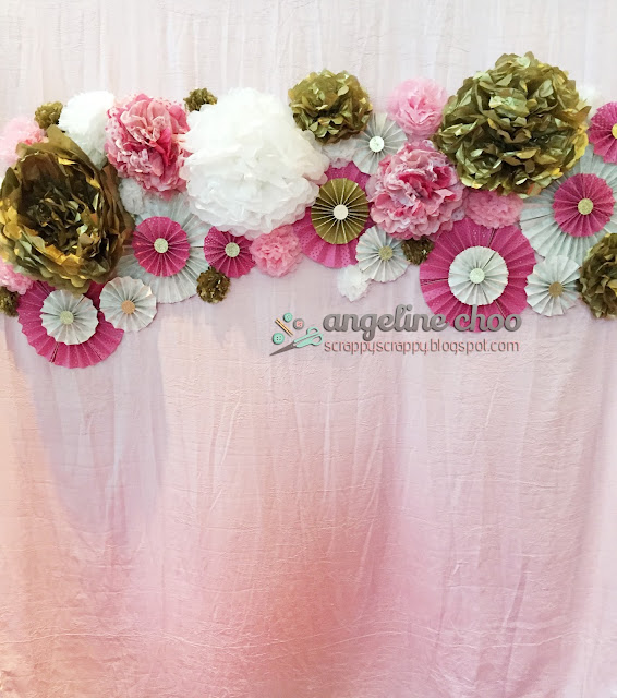 ScrappyScrappy: Wedding photobooth backdrop display #scrappyscrappy #wedding #photobooth #pompom #rosette