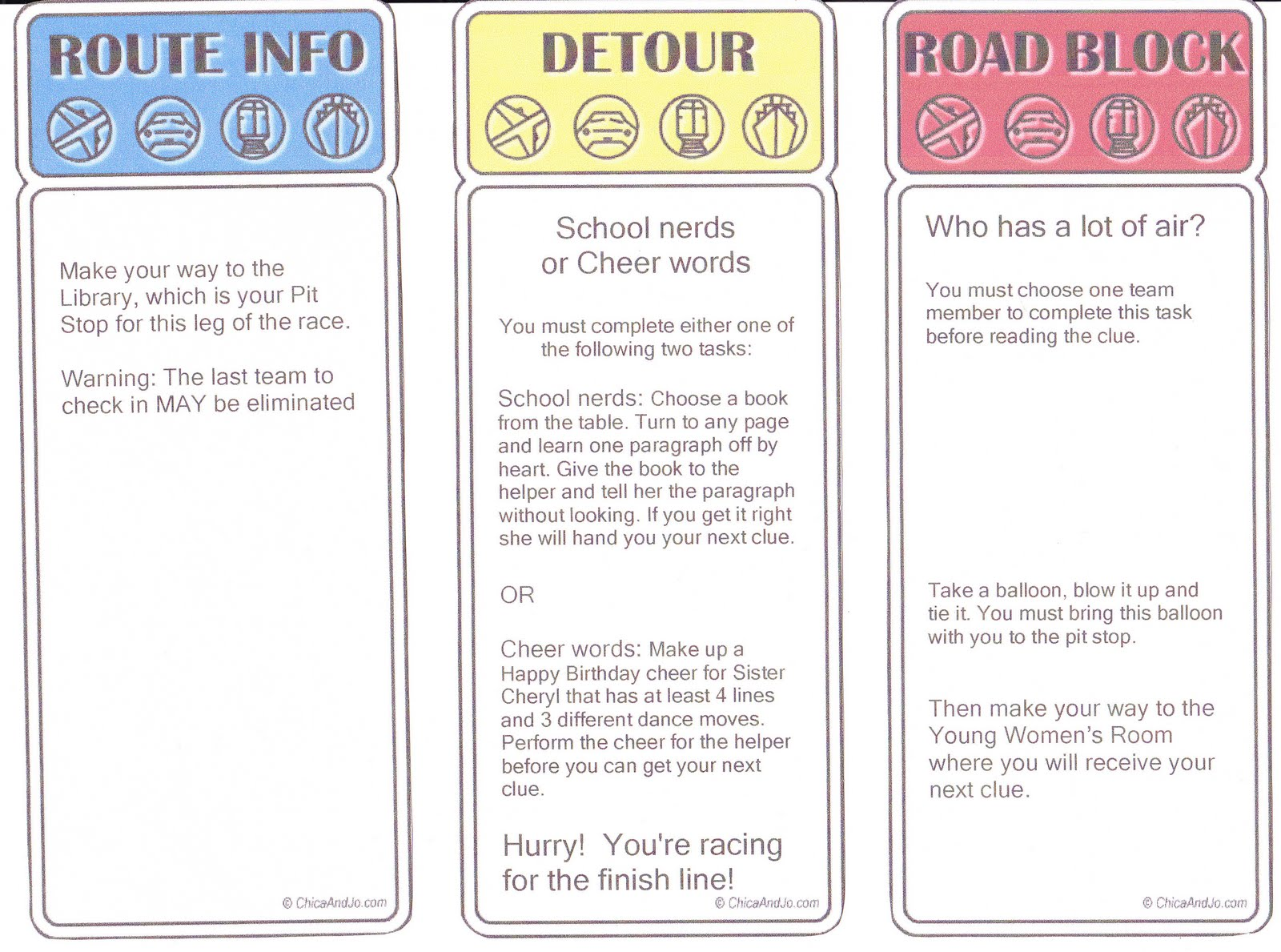 Here Are Some Of The Clues Including One Detours And Roadblocks They Had To Complete