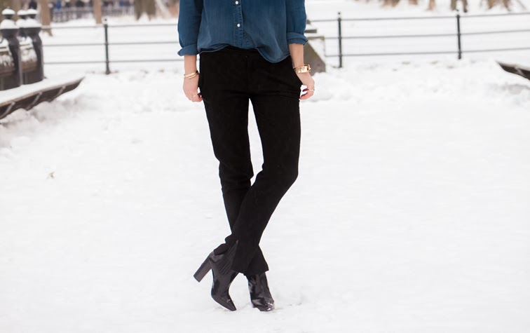 Zara black brocade pants slit, Jenny Bird bracelet, Coordinates Collection cuff, Pour la Victoire patent leather boots