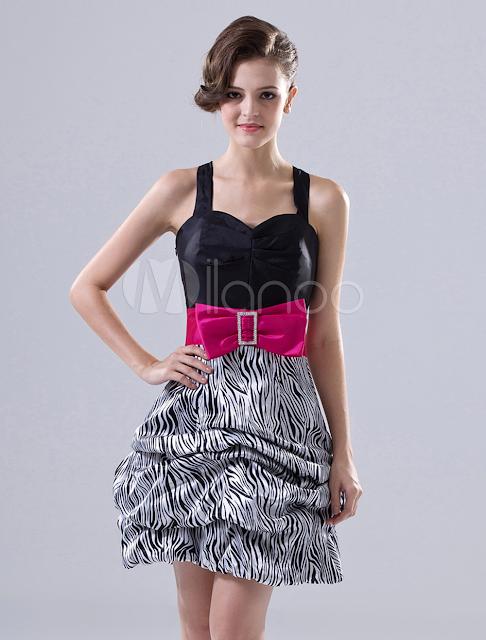 Noir longueur mini A-ligne bretelles Bow Robe de bal en taffetas