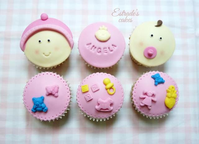 cupcakes con fondant para nacimiento de niña - 1