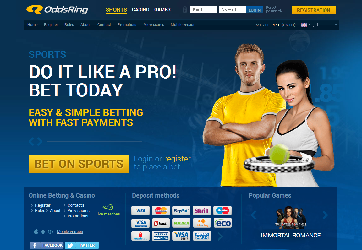 OddsRing Bet on Sports Screen