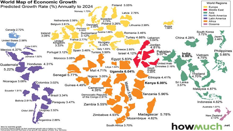 World map of economic growth