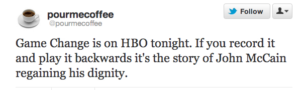 Livetweeting HBO's Game Change