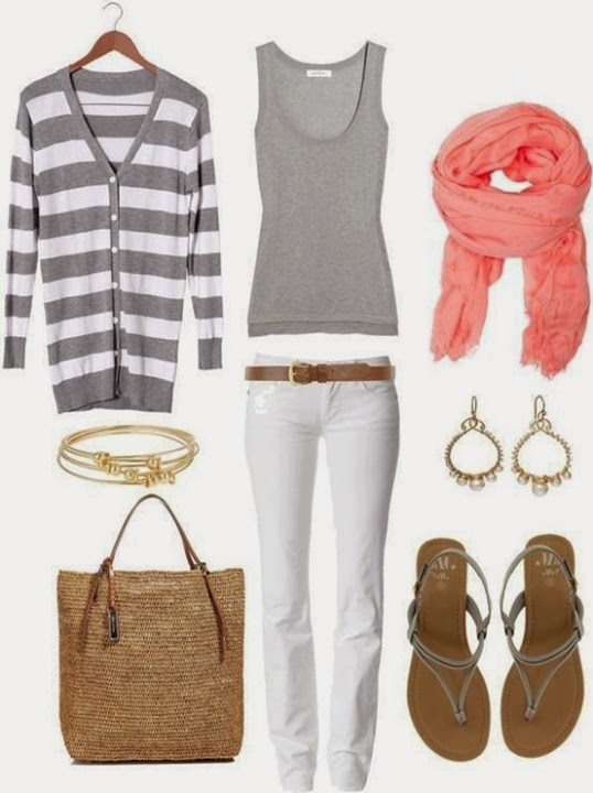 Blue cardigan, white blouse, yellow scarf, ripped jeans, yellow handbag and sandals for fall