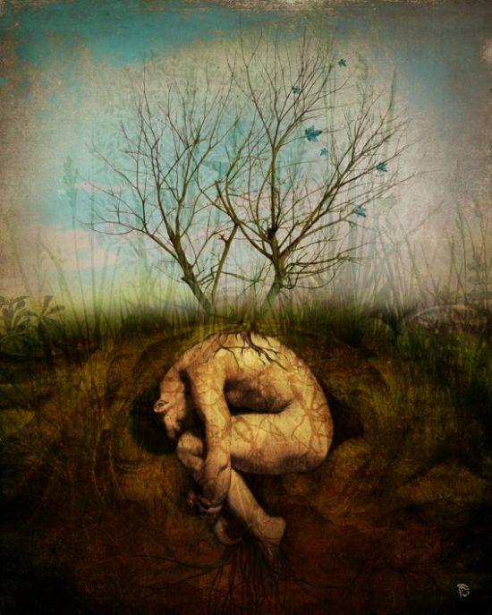 Christian Schloe ilustração digital surreal onírica sonhos A árvore sonhadora
