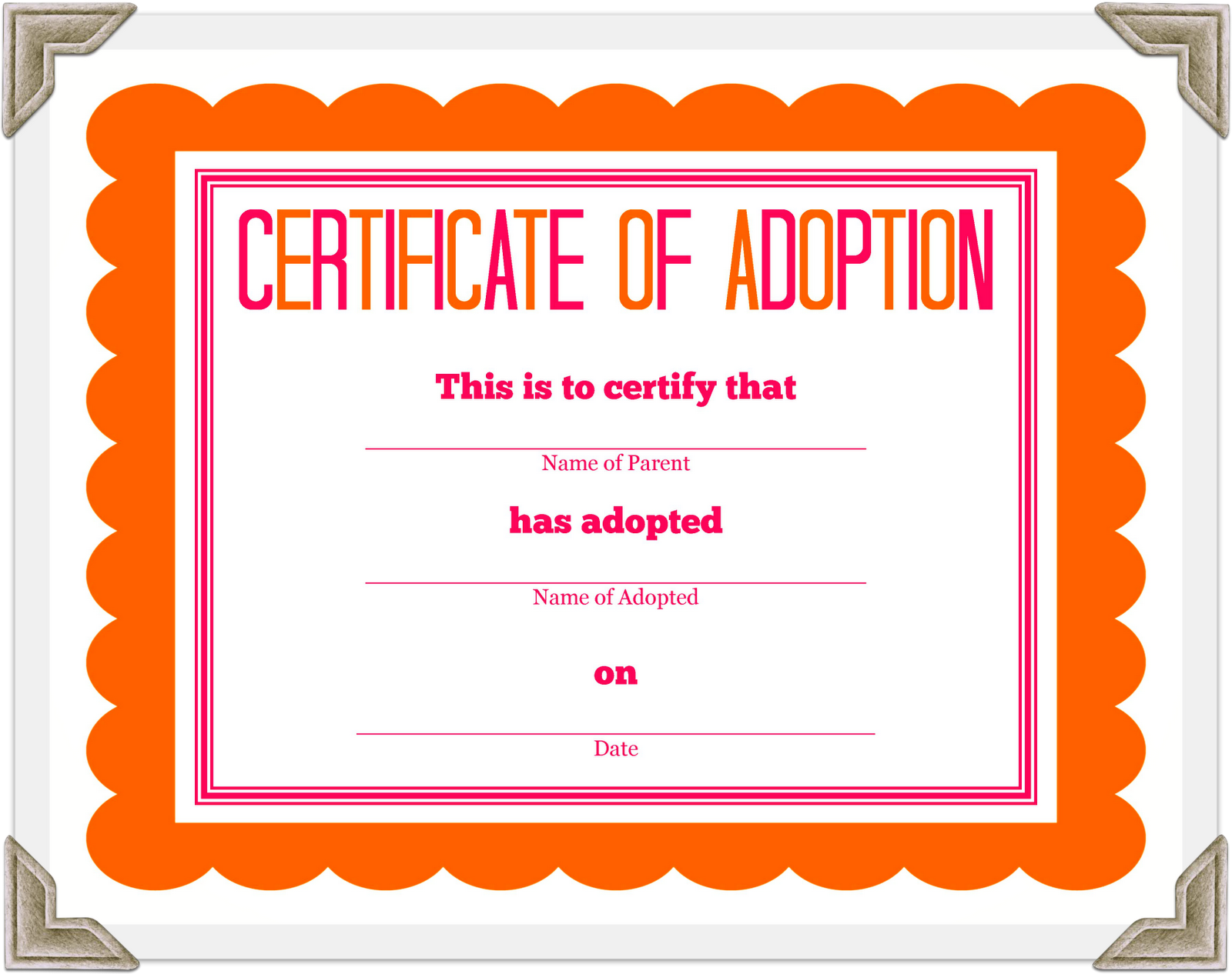 picture regarding Free Printable Adoption Certificate named Filled Animal Adoption Certification