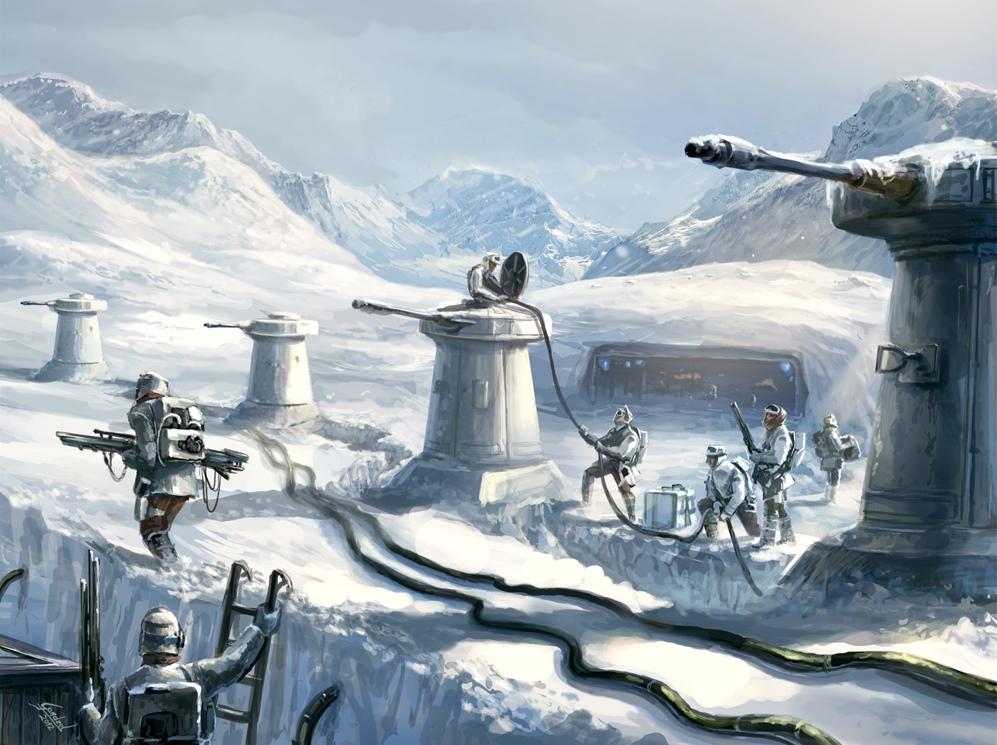A rebel base on a snowy planet.