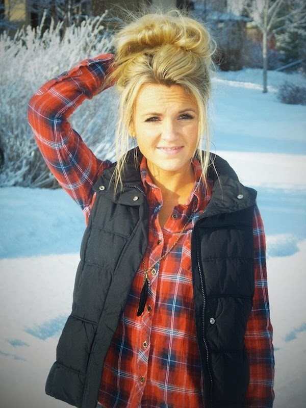 Cute winter casual fashion look vest and flannel
