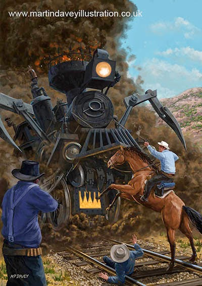 Monster Train attacking Cowboys-digital painting