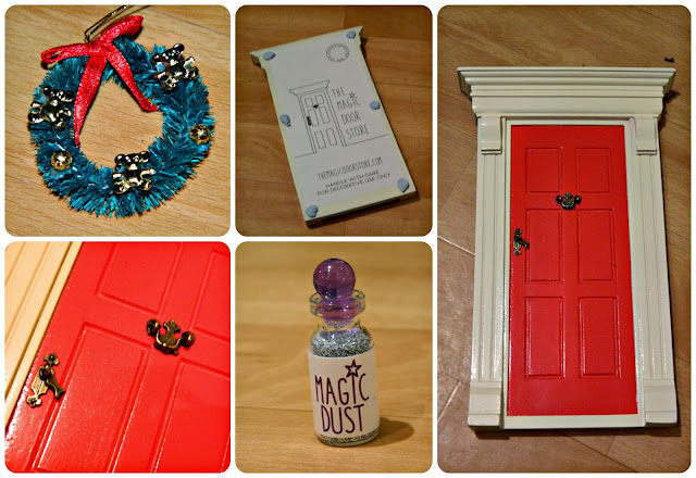 Magic Elf Door Red Christmas Wreath Magic dust