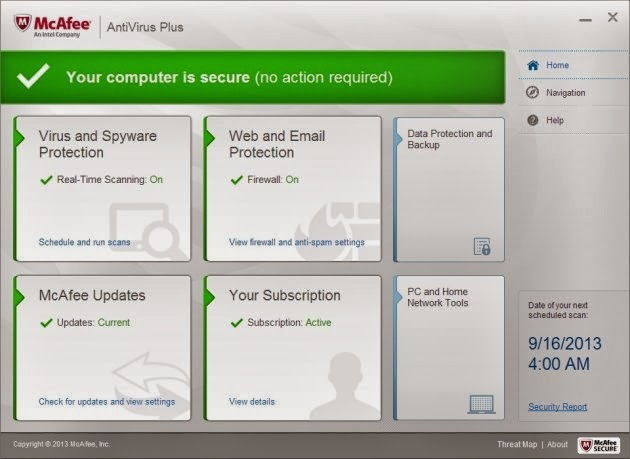 McAfee Antivirus Plus 2014 - User Interface