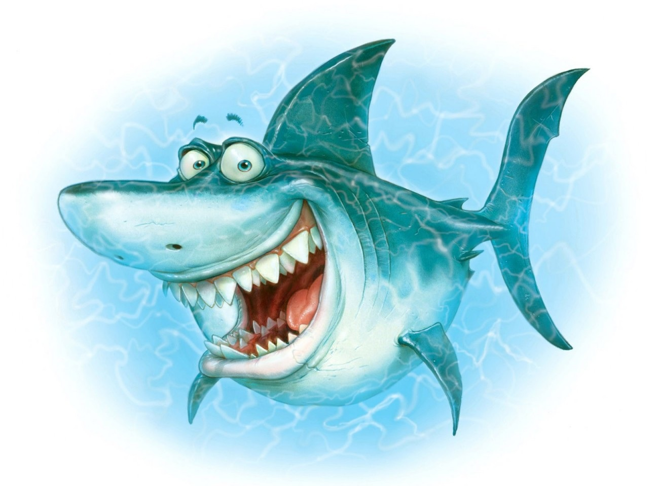 Shark Illustration Funny Smiling Hd Wallpaper