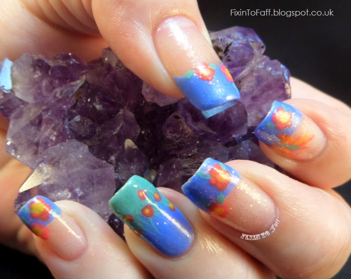 Bright Floral French Tip Festival Nail Art