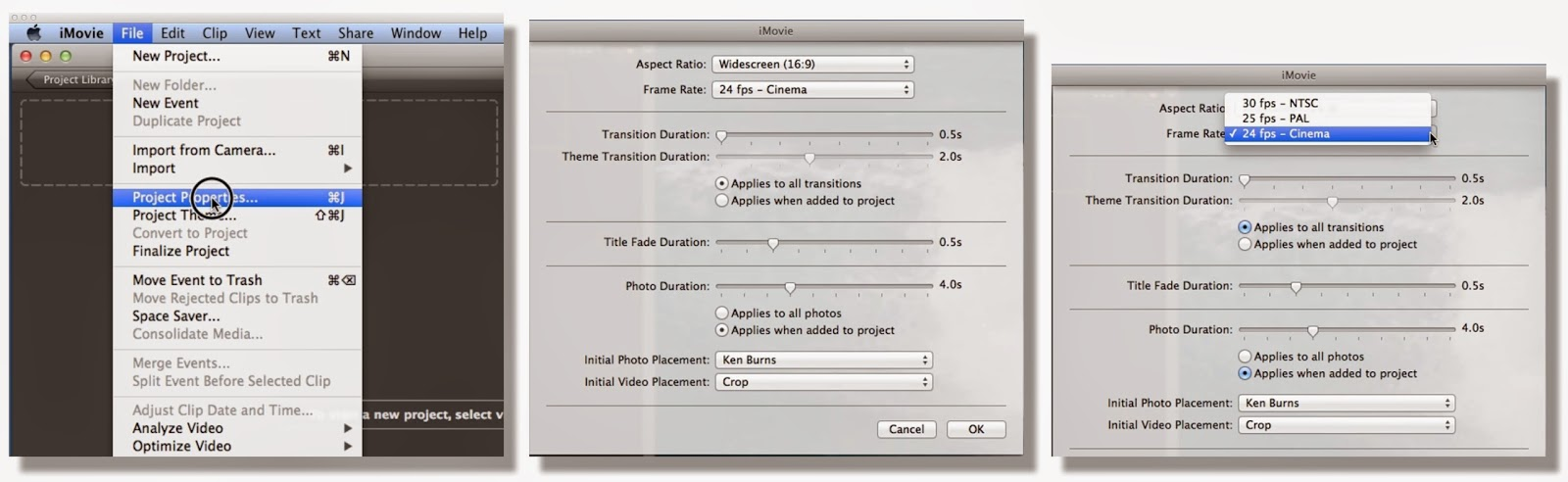 Yet Another Solution: How to set fps project properties in iMovie v ...