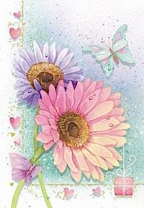 margaritas de colores  Etiquetas para regalos de flores
