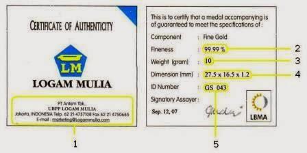 sertifikat emas antam asli