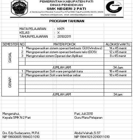 Program tahunan dalam proses pembelajaran komputer di SMKN 2 Pati