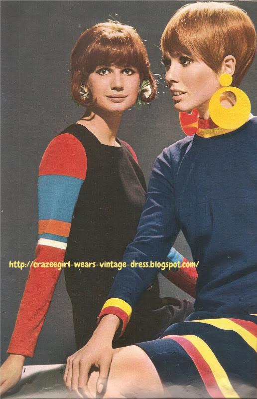 striped dress 60s 1966 1960 earrings Manches rayées de coloris vifs sur robe fluide noire . ANNE-MARIE  Robe marine, grandes rayures sur le bas de la jupe, les manches et le col. DANIEL HECHTER