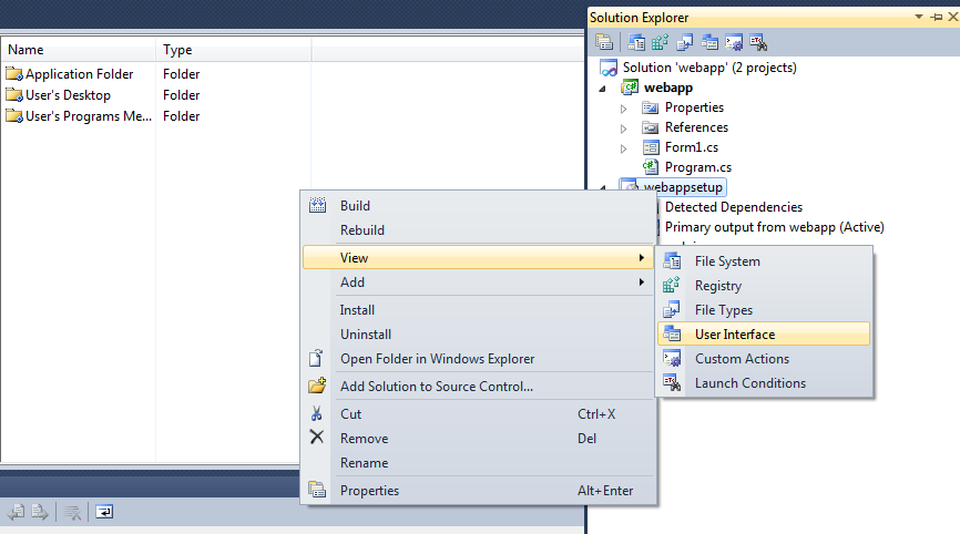 change user interface in vs 2010