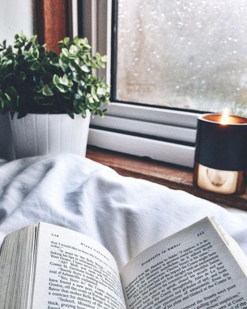 เทียนหอม อ่านหนังสือ ฝนตก
