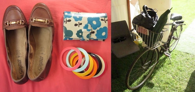 Left: Shoes, wallet, bangle. Right: Bicycle, handbag, oddly-shaped cucumber.
