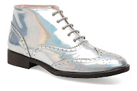 Iridescent lace up ankle boots