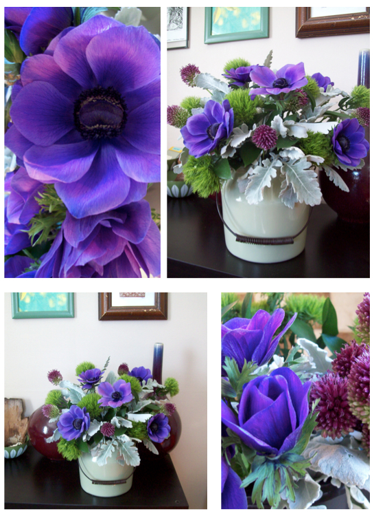 blue anemone sweet pea floral design ann arbor ferndale royal oak vintage arrangement dusty miller, dianthis, allium, ceramic croc pot, wedding centerpiece artful design flowers florist