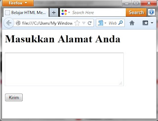 Belajar HTML Membuat Text Area