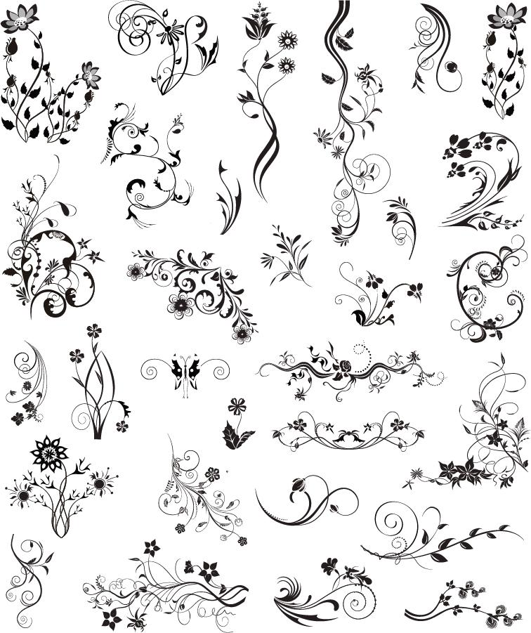 蔓を巻いたヴィンテージな飾り罫 Vintage Ornamental Design Elements イラスト素材
