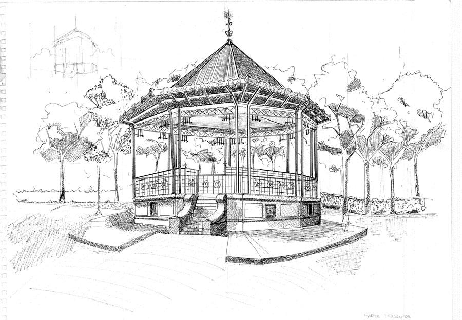 Dibujos de un kiosco para colorear imagui for Como iluminar un parque