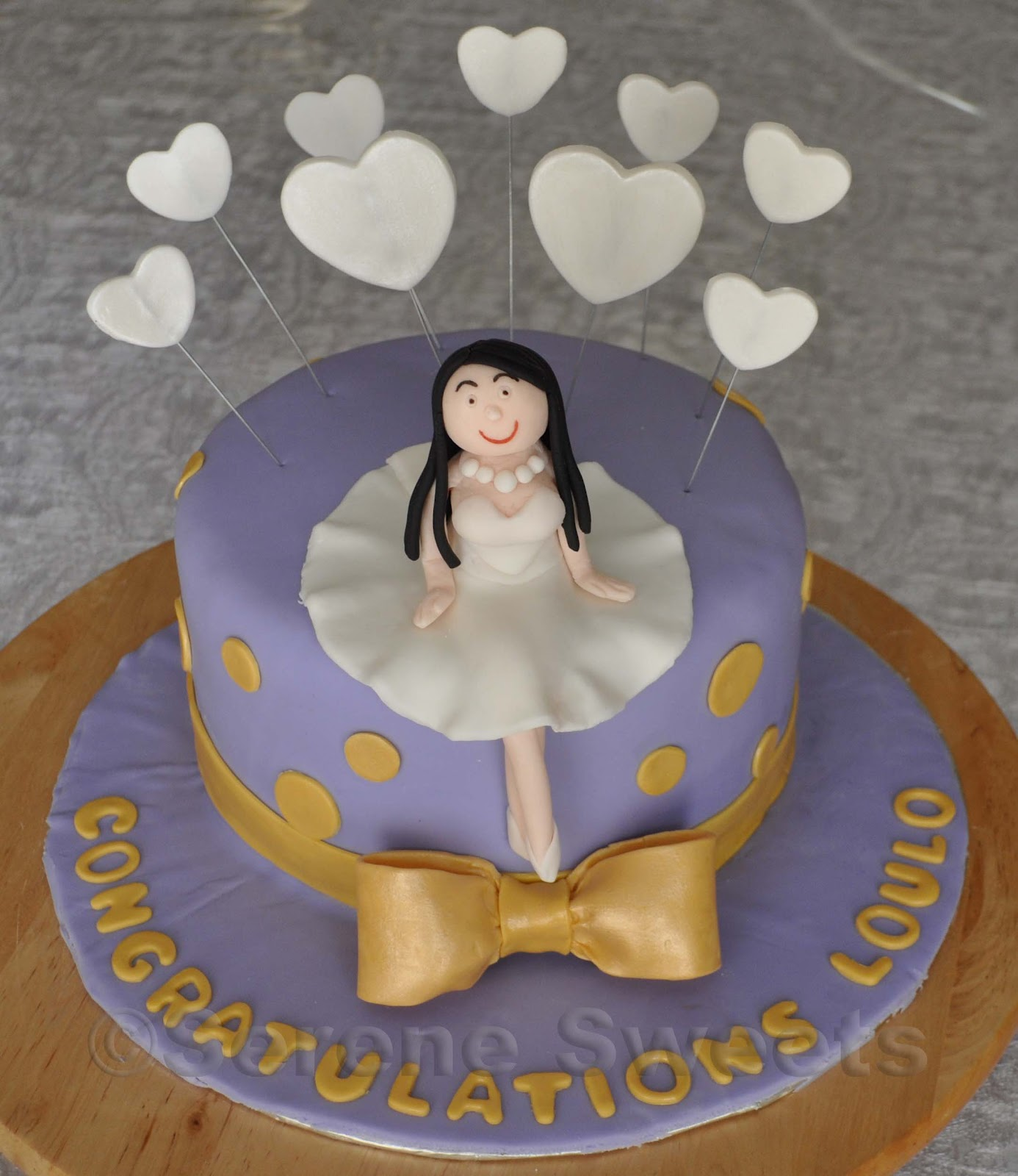 bridal shower cake purple and gold