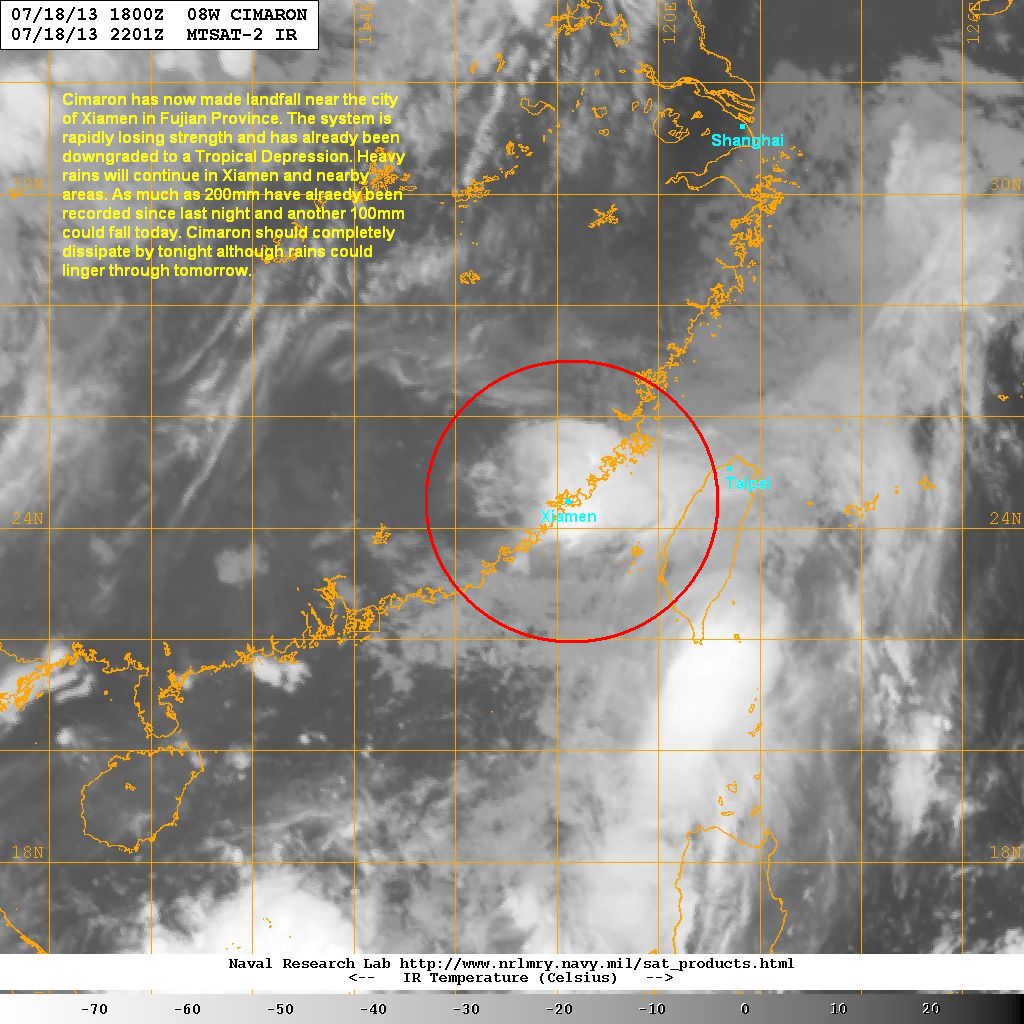 latest satellite image shows cimaron rapidly weakening as it tracks near xiamen convection is waning and the overall circulation is becoming poorly