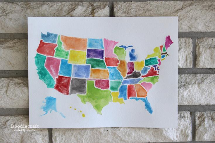Doodlecraft USA Watercolor Wall Art Using Frisket - Us map wall art