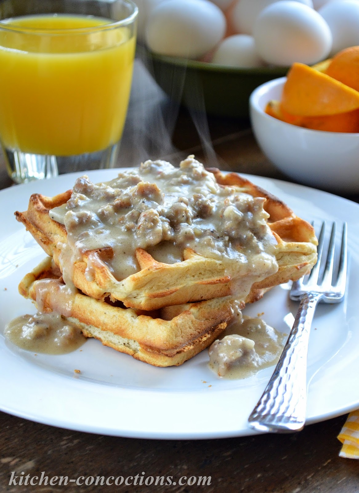 ... Concoctions: Buttermilk Biscuit Waffles with Creamy Sausage Gravy