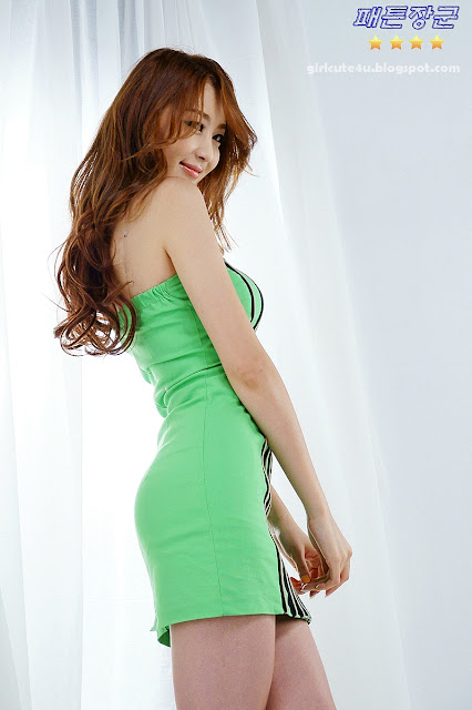 12 Eun Bin Yang-Green Mini Dress-very cute asian girl-girlcute4u.blogspot.com